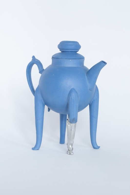 Blue teapot with a pewter leg, 2021. Porcelain and pewter