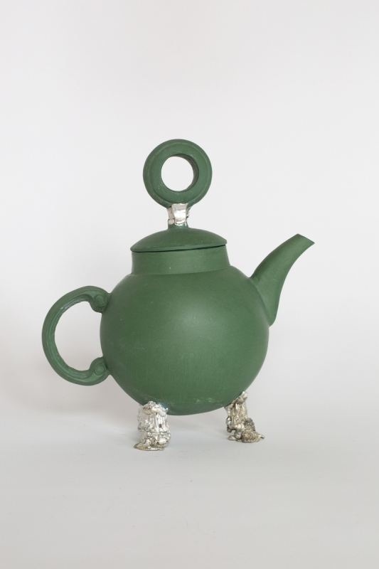Green teapot with pewter tripod, 2021. Porcelain and pewter