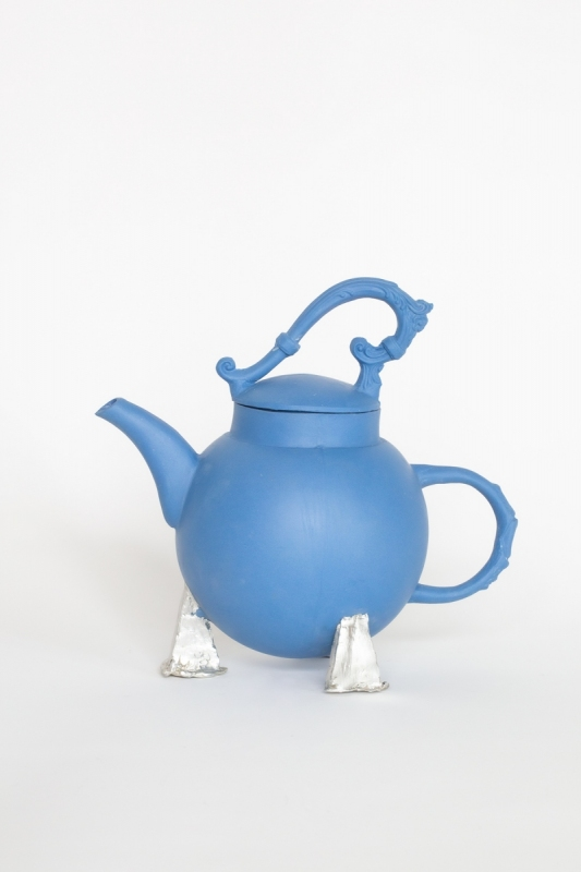 Blue teapot with pewter tripod, 2021. Porcelain and pewter