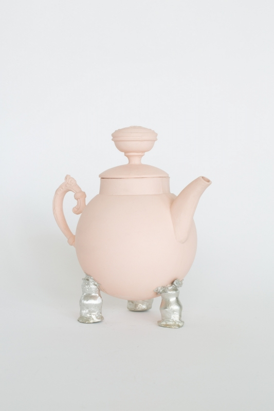 Peach teapot with pewter tripod, 2021. Porcelain and pewter