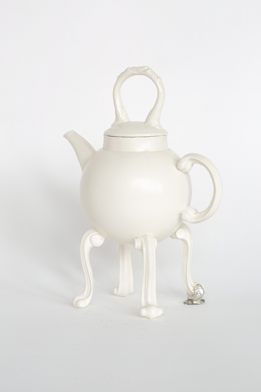 Door handles teapot, 2021. Porcelain and pewter