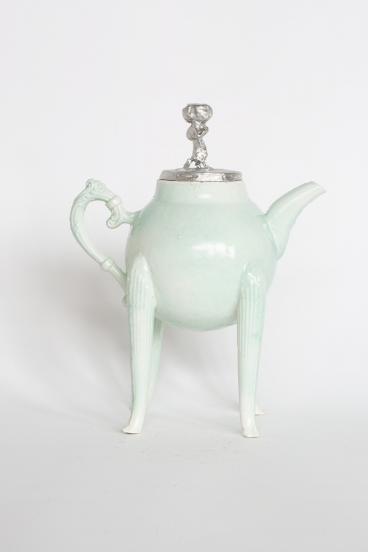 Pewter lid on the green teapot. 2021. Porcelain and pewter, H 24.5cm x W 22cm